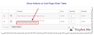 Show Addons on Cart Page Order Table
