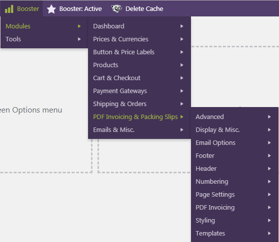 woocommerce booster plus customize the content format styling and action trigger of PDF Invoice PI Packing list